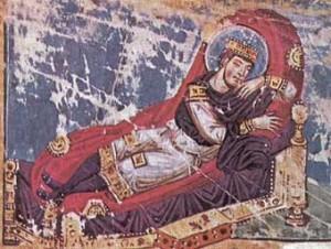 Constantijn slaapt; zodadelijk zal Jezus aan hem verschijnen. Miniatuur uit de 9de eeuw.