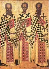 Aan haardracht en baardvorm herkent men de kerkvaders. Detail van een 15de eeuwse Russische ikoon van (v.l.n.r.) Gregorius de Theoloog, Johannes Chrysostomus, Basilius de Grote.