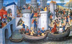 De kruisvaarders nemen Constantinopel in.