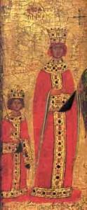 Keizerin Theodora en haar zoon Michael III op een laat- 14de eeuwse ikoon uit Constantinopel.