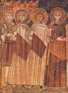 Constantijn IV, met links van hem zijn broers die hij de neus liet afsnijden en zijn zoon Justinianus II (Ravenna, San Apollinare in Classe, 7de eeuw).