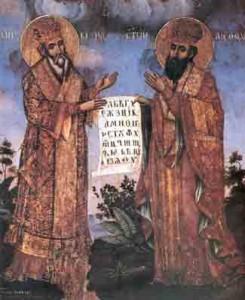 De H.H. Cyrillus en Methodius tonen een document met de let- ters van het Cyrillisch schrift (19de eeuwse Servische ikoon).