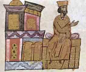 Keizer Basilius op zijn gouden troon. Miniatuur,11e eeuw.