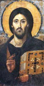 Vroegst bekende ikoon (5de eeuw) van Christus als Pantokrator. Het gelaat is plastisch geschilderd, de achtergrond is realistisch.