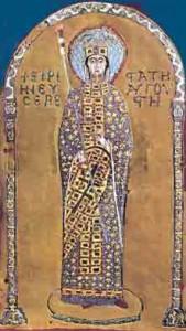 Keizerin Irene op het Pala d'Oro (gouden retabel) in de San Marco te Venetië (ca. 1000).