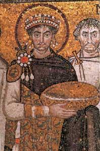 Mozaïek van keizer Justinianus I in de San Vitale te Ravenna (6e eeuw).