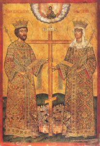 Constantijn de Grote en zijn moeder, keizerin Helena. Tussen hen in het teruggevonden Ware Kruis, aan hun voeten de stad Constantinopel (Roemeense ikoon, eind 17de eeuw).