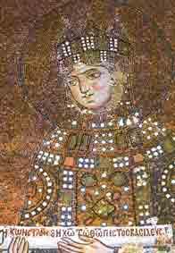 Zoë, 'de vroomste keizerin' op een 11de eeuws mozaïk in de Agia Sophia.