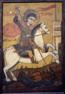 Joris en de draak; koptische ikoon van Ibrahim al- Nasikh, achttiende eeuw; Coptic Museum, Cairo.
