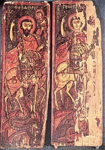 Theodorus en Joris; zijpanelen van een triptiek, negende-tiende eeuw; Catherinaklooster.