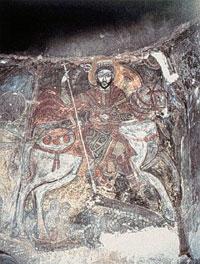 Theodorus en de draak; wandschildering, 1232/33; Antoniusklooster, Egypte, 1232/33.