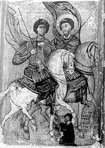 Joris, Theodorus en Joris uit Parijs; ikoon,  dertiende eeuw; Catherinaklooster.