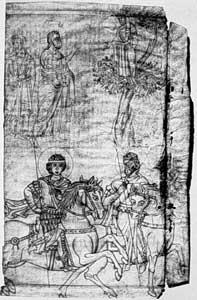 'Constantijn' en Theodorus; tekening, dertiende eeuw; Augustinermuseum Freiburg.