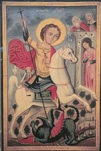 Joris, de draak en het slaafje van Mitilini; Palestijnse ikoon geschilderd door Michael Mhanna al Qudsi, tweede helft van de negentiende eeuw; collectie Antoine Touma.