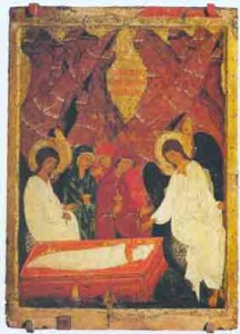 Ikoon, Heilige vrouwen bij het graf, vroeg 16e eeuw, Vologda, tempera op hout, 81,5 x 58,5 cm., Collectie Russisch Staatsmuseum St. Petersburg