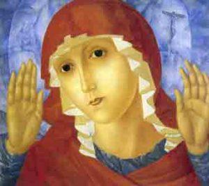 Koezma Petrov-Vodkin, De Moeder Gods van de tederheid die kwade harten beroert, 1914-15, olieverf op doek op hout, 100,2 x 110 cm., Collectie Russisch Staatsmuseum St. Petersburg