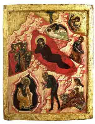 Geboorte van Christus, Rusland, Pskov, ca. 1550