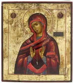 Moeder Gods van Zeven Smarten (Semistrelnaja), Rusland, 19e eeuw
