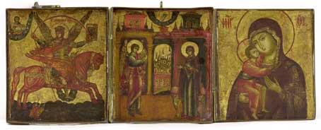Triptiek, de boodschap aan de Moeder Gods, de Aartsengel Michaël en de Moeder Gods van Kostroma, Rusland, midden 18e eeuw