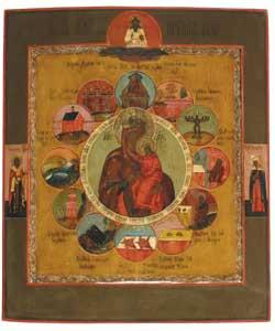 Moeder Gods van de Akathistos Hymne, Rusland, 19e eeuw, collectie Ikonenmuseum Kampen