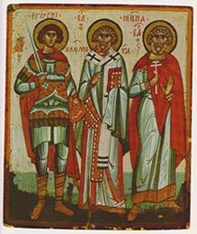 Hh. Clemens, Georgius, Menas, tweede helft 14de eeuw, Russische ikoon Novgorod, Ikonen-Museum Frankfurt