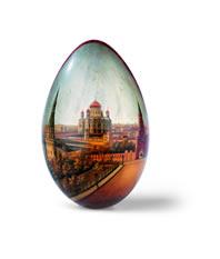 Onbekende fabriek, Rusland, Paasei van lak met gezicht op de Christus Verlosserkathedraal te Moskou, ca. 1900, gemengde techniek, 16 cm hoog, Liechtensteinisches Landesmuseum, Vaduz