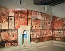 Afbeelding van de synagoge van Dura Europos met fresco's