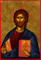 Christus Pantocrator ,ikoon geschilderd naar aanleiding van de reis in Rusland  door de in Griekse stijl werkende ikoonschilder Jan Verdonk