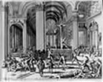 Afbeelding van de Protestantse beeldenstorm uit de reformatietijd