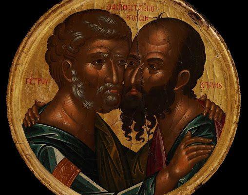 De omhelzing van de apostelen Petrus en Paulus