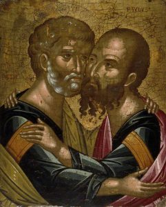 Akotantos, Angelos; Icon of The Embrace of the Apostles Peter and Paul; The Ashmolean Museum of Art and Archaeology; http://www.artuk.org/artworks/icon-of-the-embrace-of-the-apostles-peter-and-paul-141454